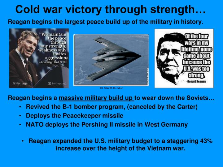 Reagan begins the largest peace build up of the military in history