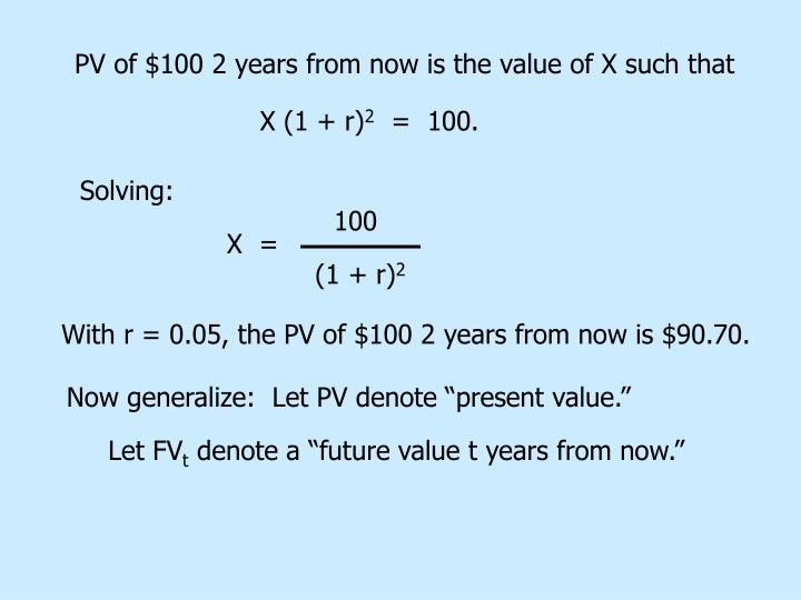 PV of $100 2 years from now is the value of X such that