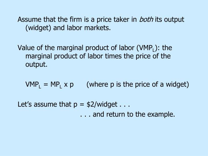 Assume that the firm is a price taker in
