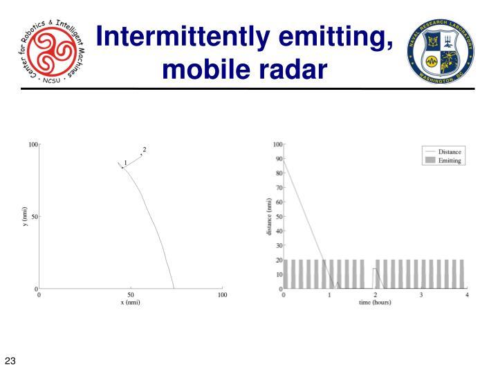 Intermittently emitting, mobile radar