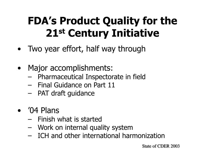 FDA's Product Quality for the 21