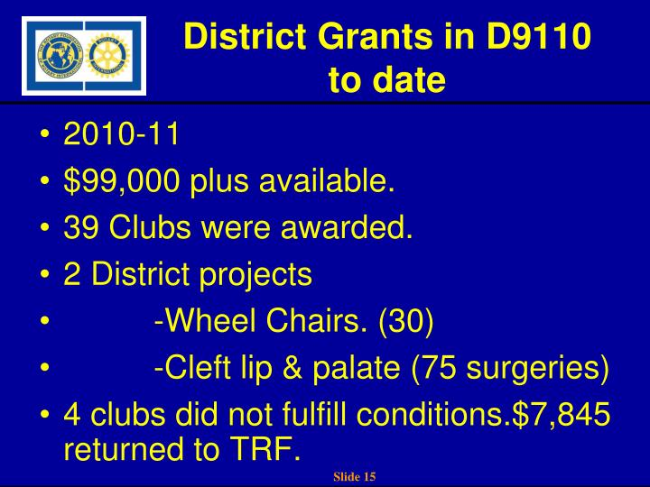 District Grants in D9110 to date