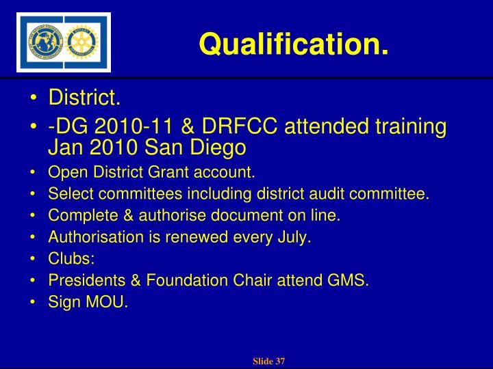 Qualification.