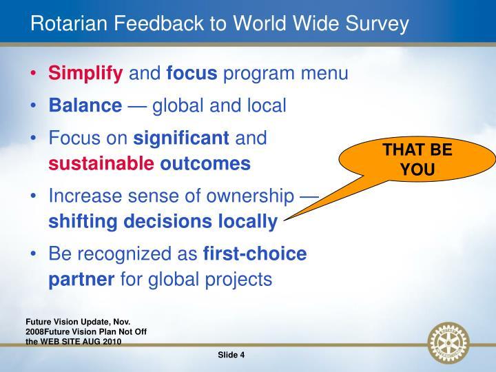 Rotarian Feedback to World Wide Survey