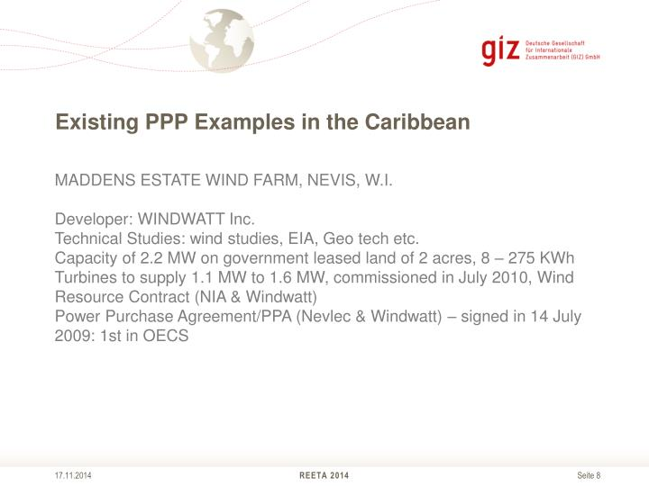 Existing PPP Examples in the Caribbean