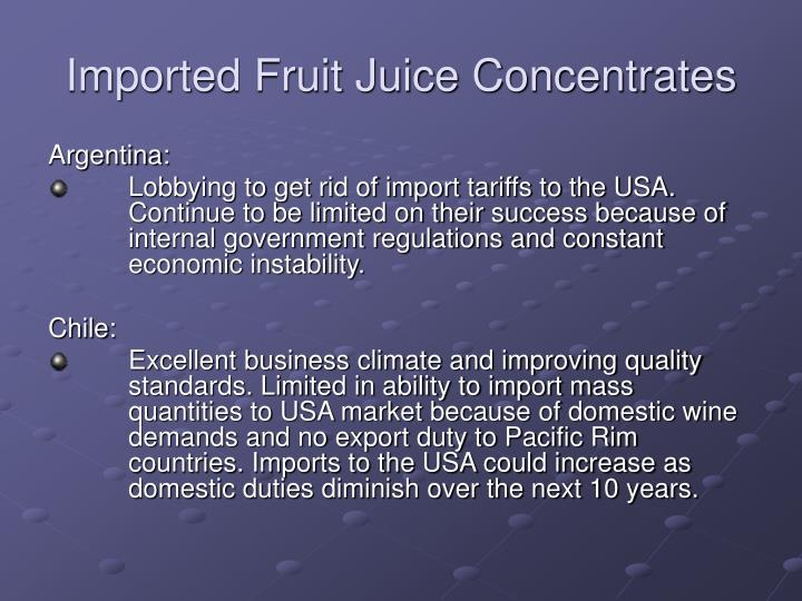 Imported Fruit Juice Concentrates