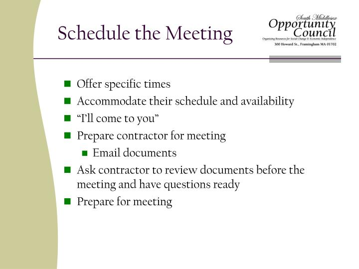Schedule the Meeting
