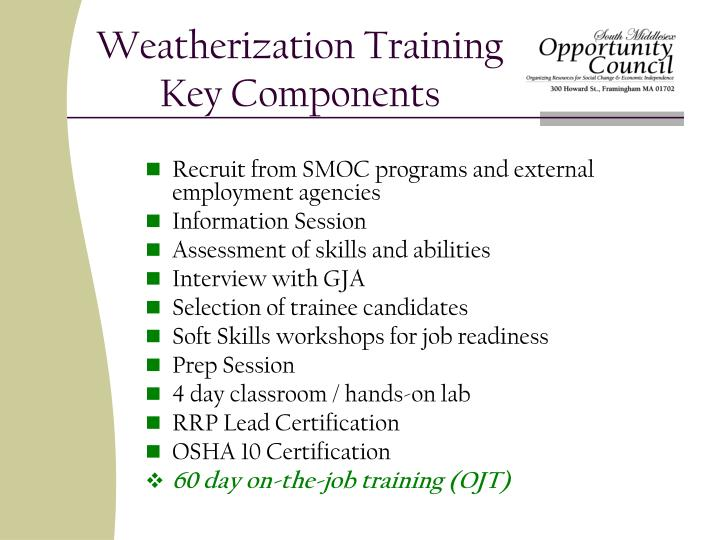 Weatherization training key components
