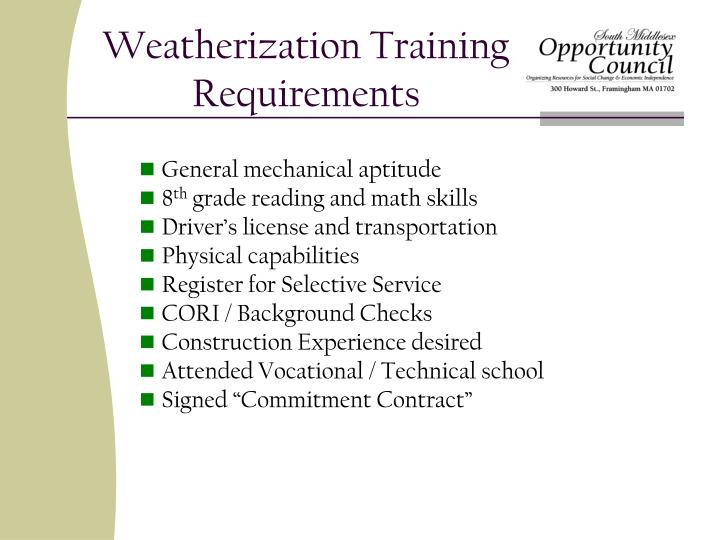 Weatherization training requirements