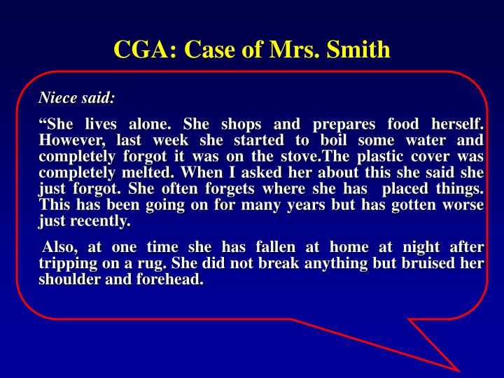 CGA: Case of Mrs. Smith
