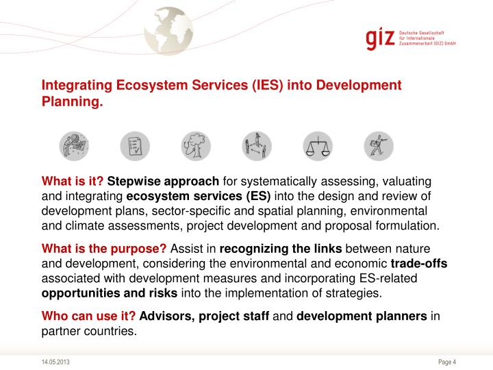 Integrating Ecosystem Services (IES) into Development Planning.