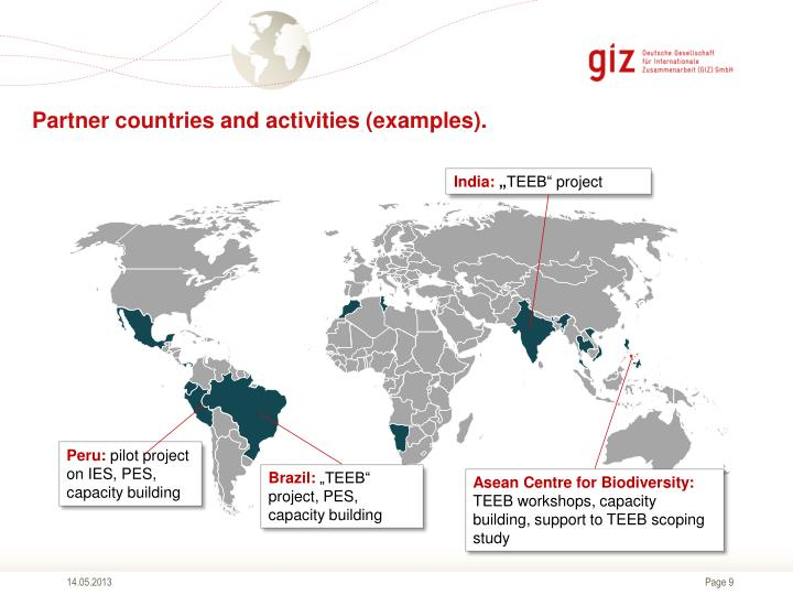 Partner countries and activities (examples).