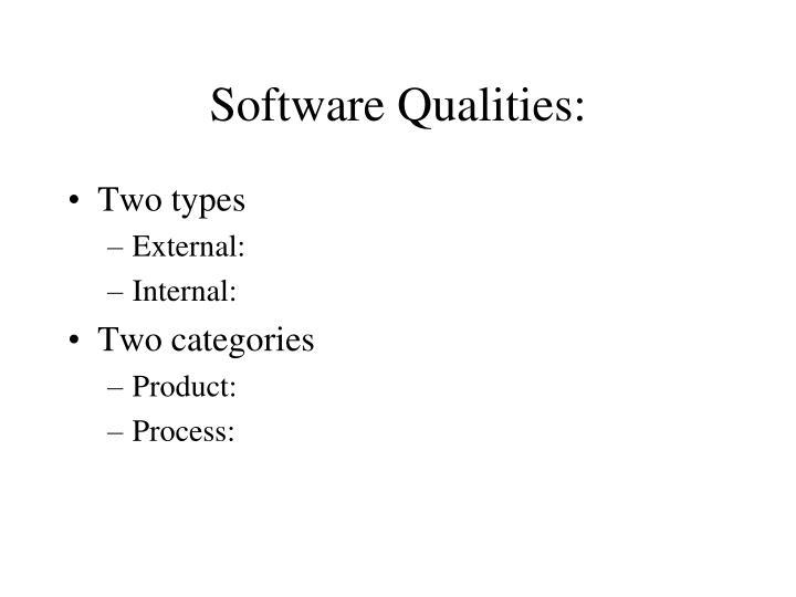 Software Qualities: