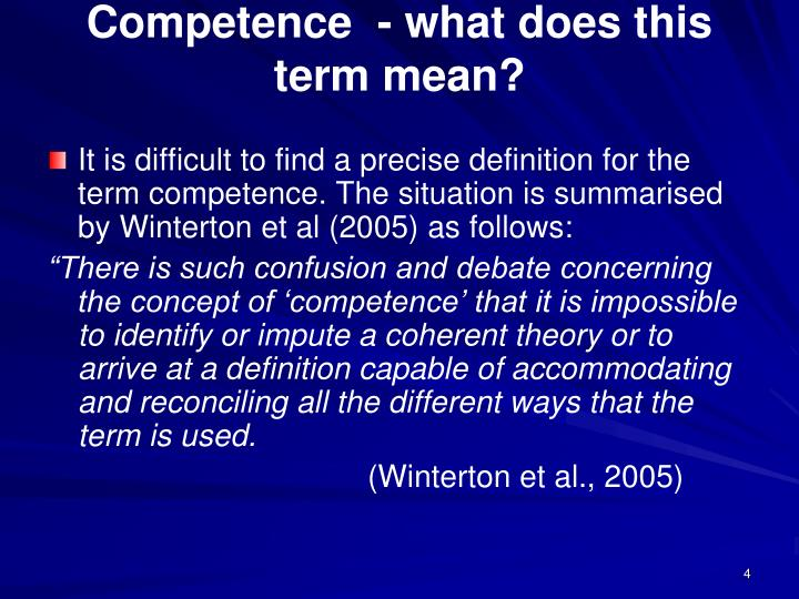Competence  - what does this term mean?