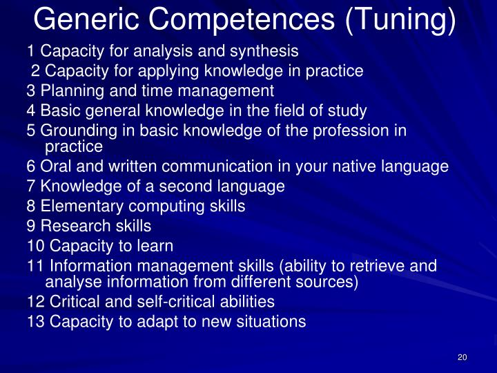 Generic Competences (Tuning)