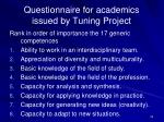 questionnaire for academics issued by tuning project