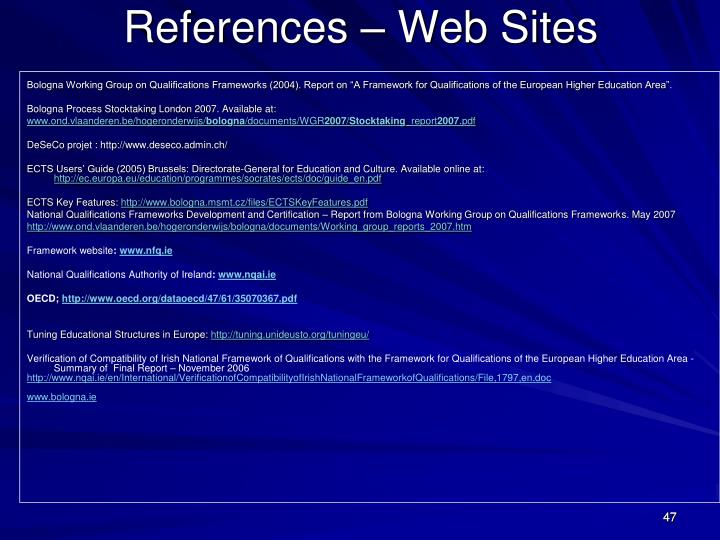 References – Web Sites