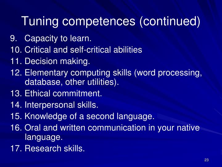 Tuning competences (continued)
