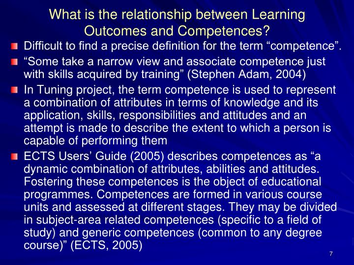 What is the relationship between Learning Outcomes and Competences?