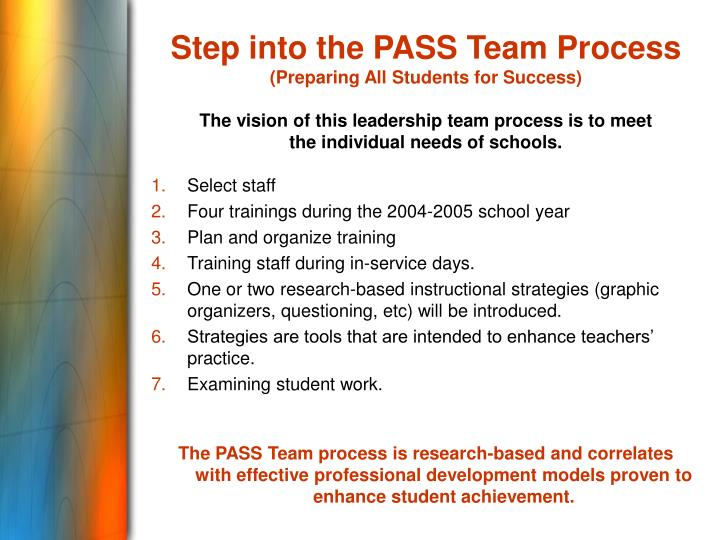 Step into the PASS Team Process