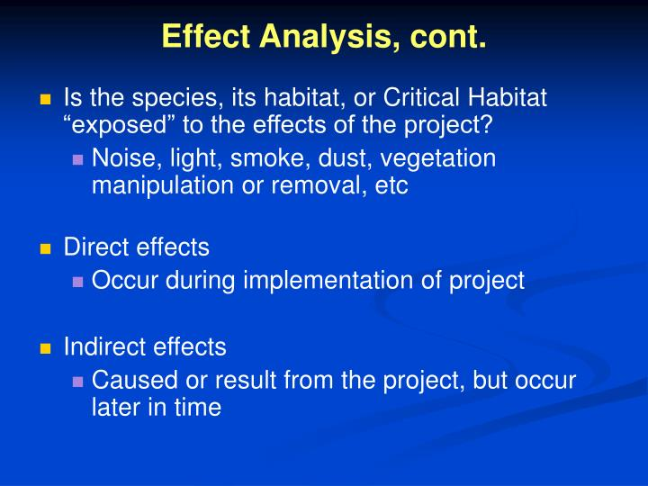 Effect Analysis, cont.