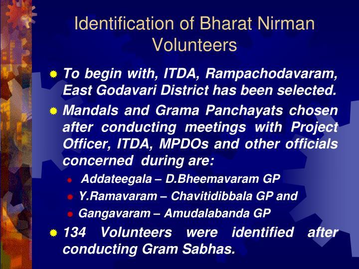 Identification of Bharat Nirman Volunteers