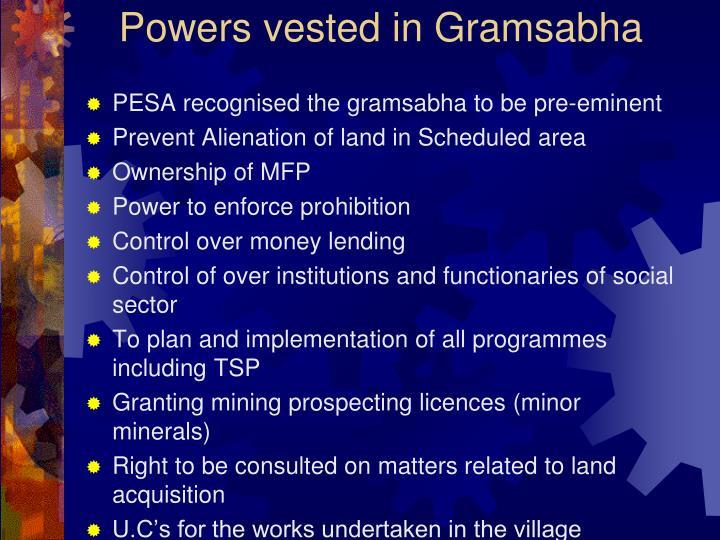 Powers vested in Gramsabha