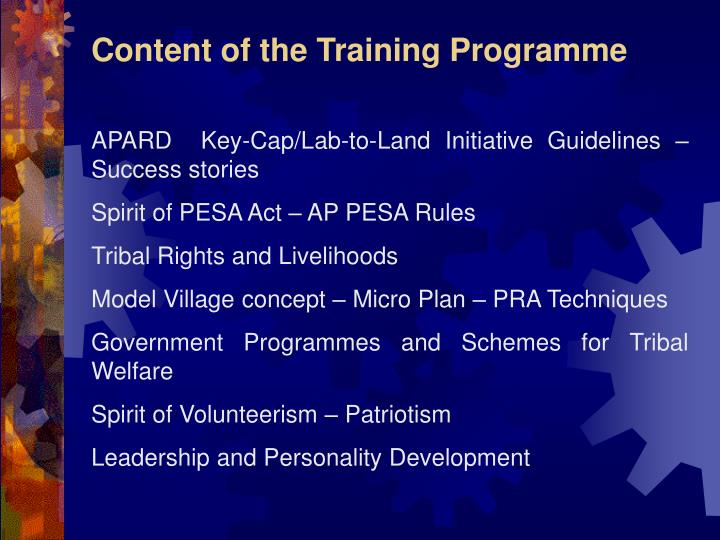 Content of the Training Programme