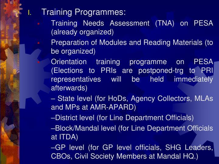 Training Programmes:
