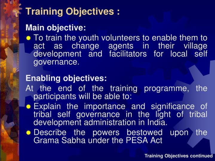 Training Objectives :