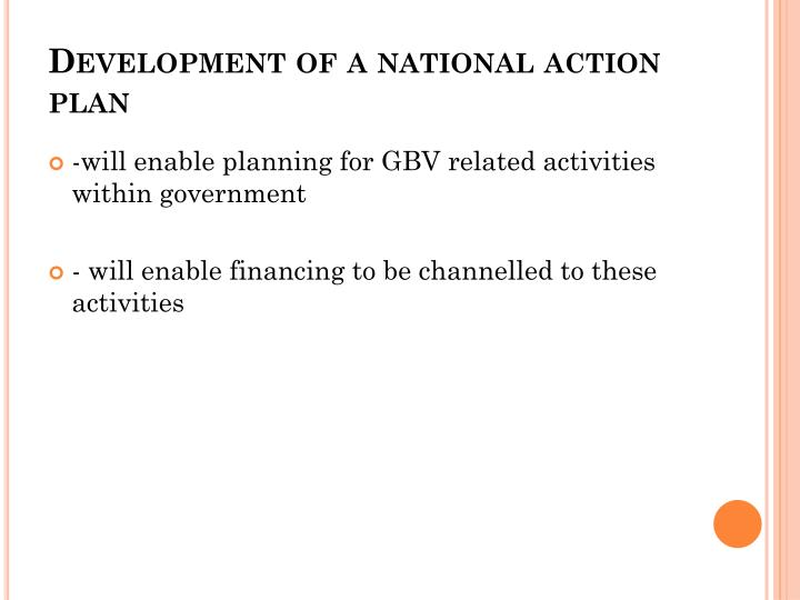 Development of a national action plan
