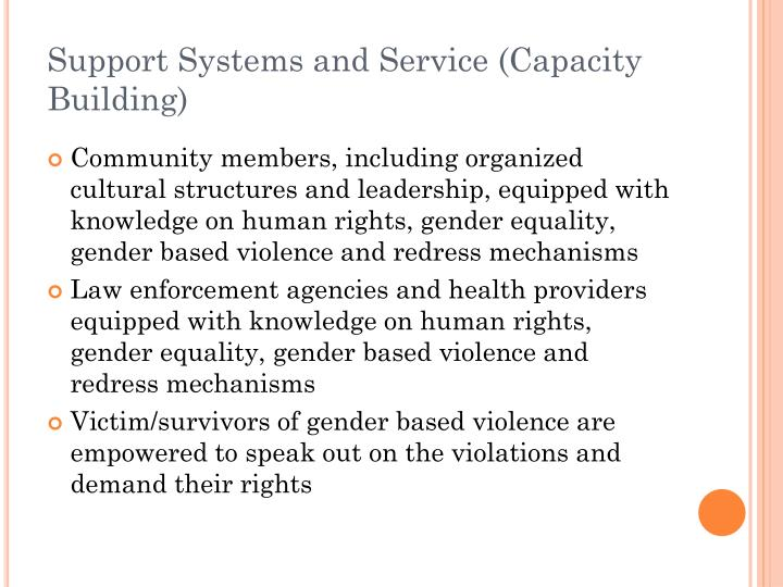 Support Systems and Service (Capacity Building)
