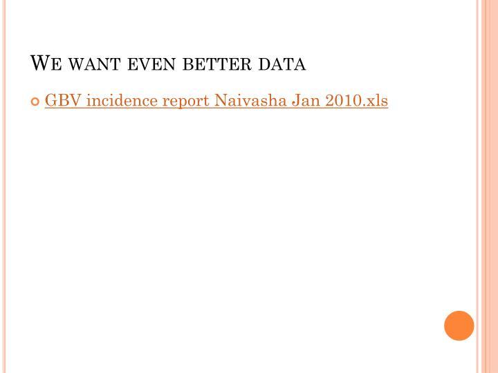 We want even better data