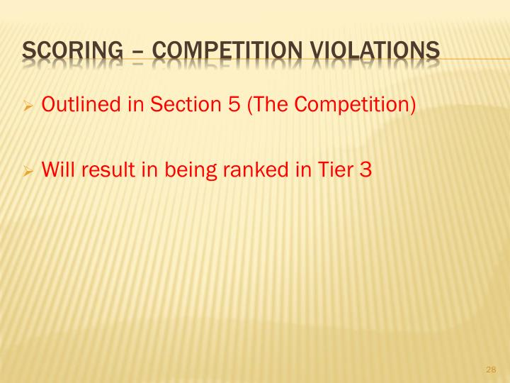 Outlined in Section 5 (The Competition)