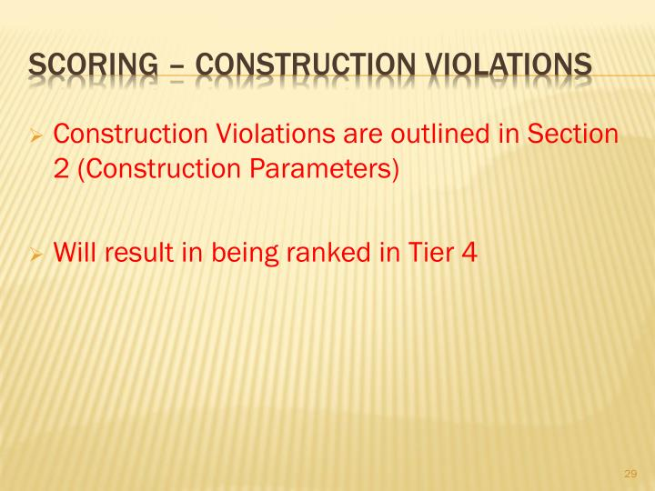 Construction Violations are outlined in Section 2 (Construction Parameters)