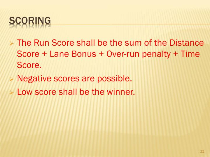 The Run Score shall be the sum of the Distance Score + Lane Bonus + Over-run penalty + Time Score.