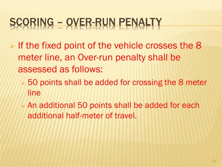 If the fixed point of the vehicle crosses the 8 meter line, an Over-run penalty shall be assessed as follows: