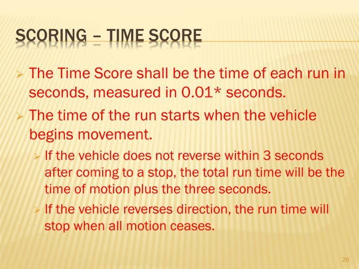 The Time Score shall be the time of each run in seconds, measured in 0.01* seconds.