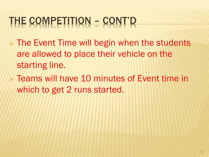 The Event Time will begin when the students are allowed to place their vehicle on the starting line.