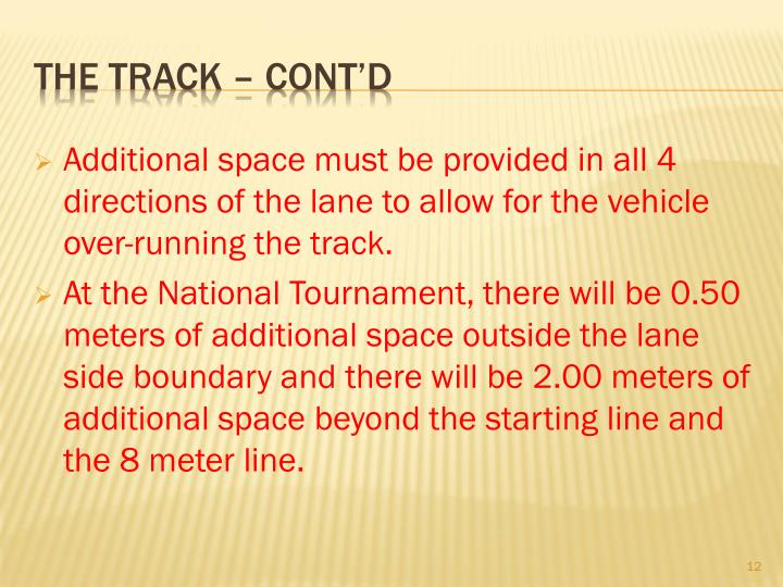 Additional space must be provided in all 4 directions of the lane to allow for the vehicle over-running the track.