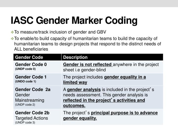 IASC Gender Marker Coding