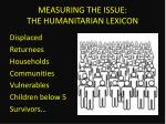 measuring the issue the humanitarian lexicon