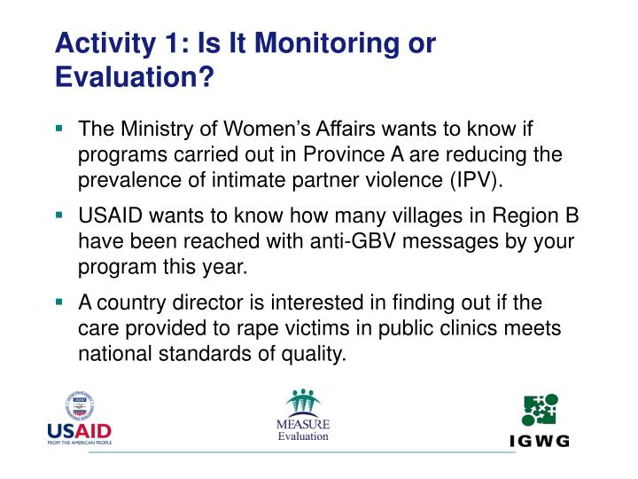 Activity 1: Is It Monitoring or Evaluation?