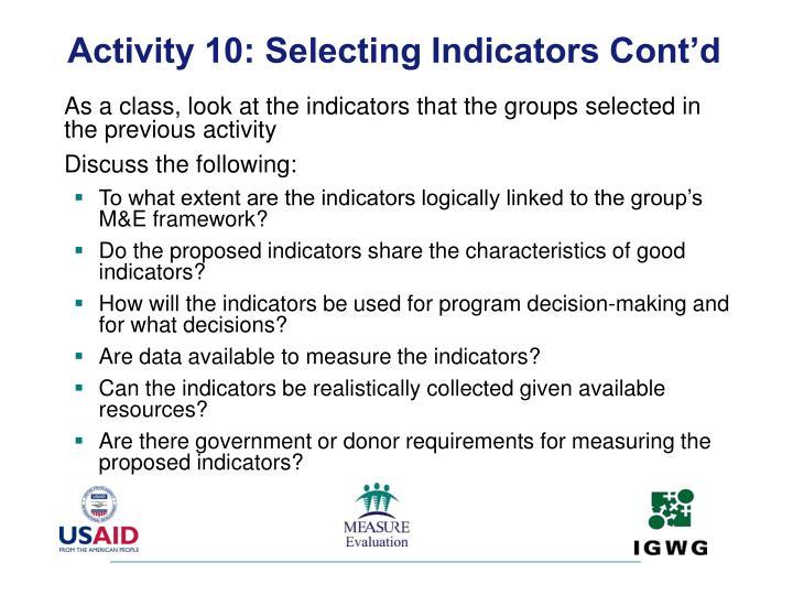 Activity 10: Selecting Indicators Cont'd