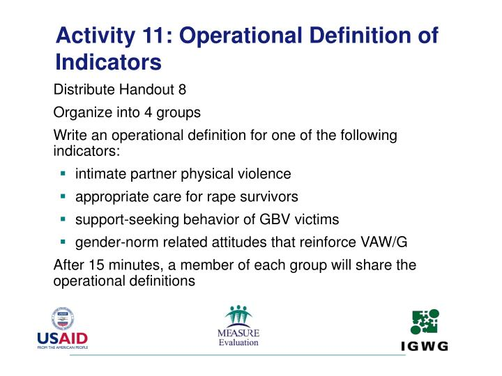 Activity 11: Operational Definition of Indicators