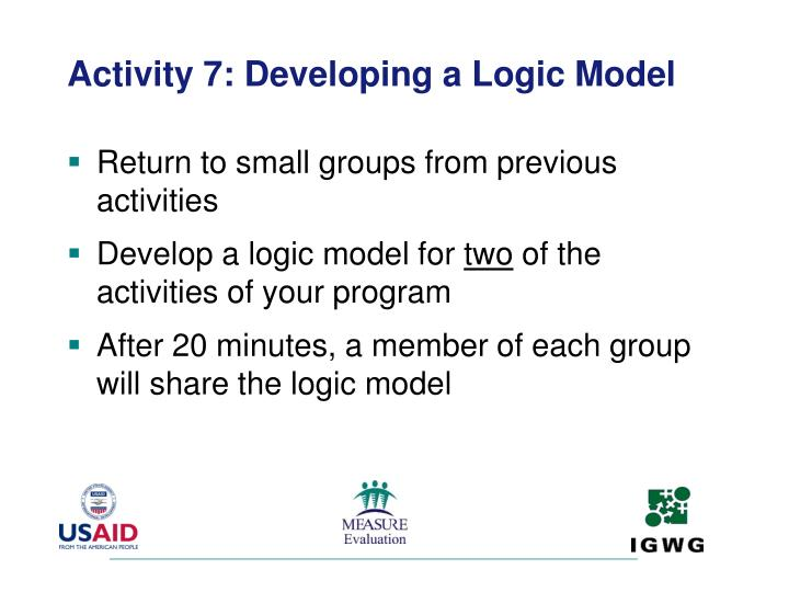 Activity 7: Developing a Logic Model