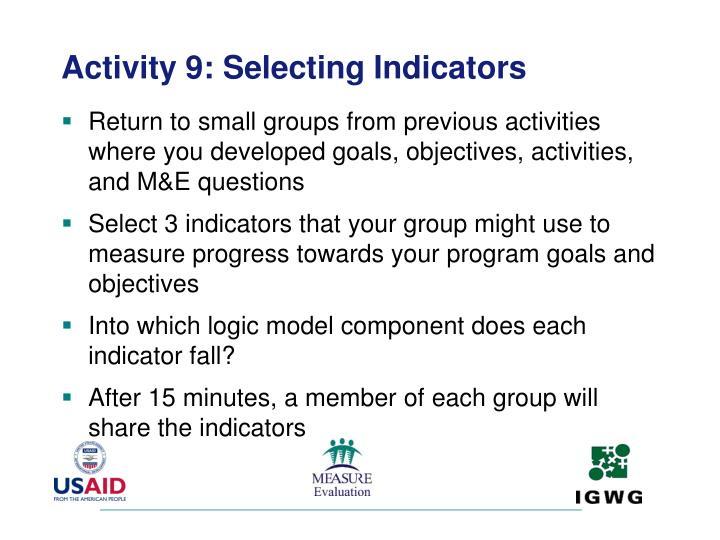 Activity 9: Selecting Indicators