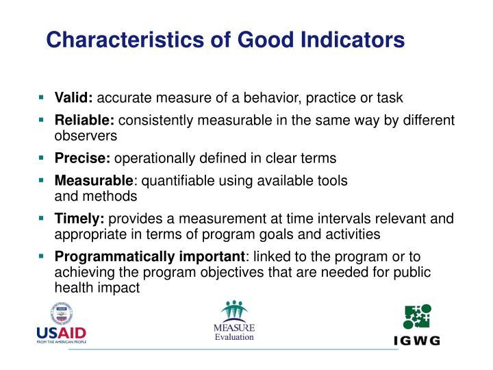 Characteristics of Good Indicators