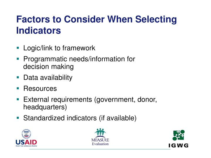 Factors to Consider When Selecting Indicators