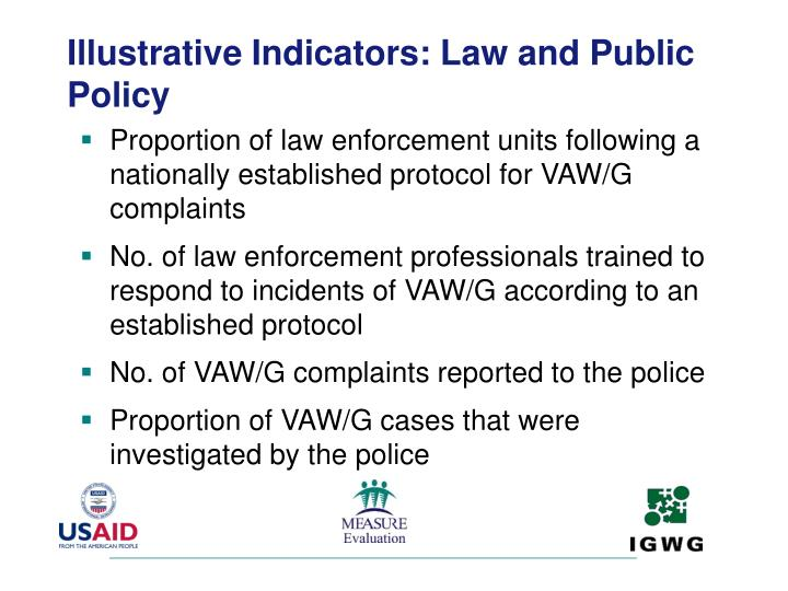 Illustrative Indicators: Law and Public Policy